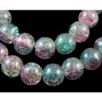Round Crackle Glass Beads Strands, Pearl Luster Plated, LightFuchsia and LightBlue, 12mm in diameter, hole: 2mm(GGC12mm017Y-L)