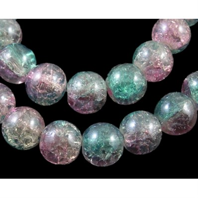 Round Crackle Glass Beads, Pearl Luster Plated, LightFuchsia and Light