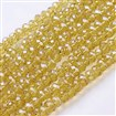 Glass Beads Strands, Pearl Luster Plated, Crystal Suncatcher, Faceted Abacus, Goldenrod, 6mm in diameter, 4mm thick, hole: 1mm