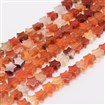 Natural Carnelian Bead Strands, Star, 4mm long, 4mm wide, 2mm thick, hole: 0.8mm, approx 98~108 beads / strand