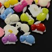 Acrylic Shank Buttons, 1-Hole, Dyed, Rabbit, Mixed Color, 15mm wide, 20mm long, 5mm thick, hole: 2mm