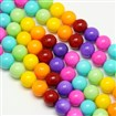 Round Baking Paint Glass Beads Strands, Dyed, Mixed Color, 10mm in diameter, hole: 0.7~1.1mm