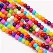 Round Baking Paint Glass Beads Strands, Dyed, Mixed Color, 6mm in diameter, hole: 0.7~1.1mm