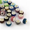 Polymer Clay Rhinestone European Large Hole Beads with Silver Tone Brass Cores, Rondelle, Mixed Color, 11~12x7~7.5mm, hole: 5mm.