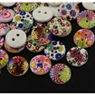2-Hole Wooden Buttons, Printed Flat Round Button, Mixed Color, 13x3.5mm, Hole: 1mm
