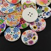 4-Hole Wooden Buttons, Printed Flat Round Button, Mixed Color, 25mm in diameter, 5mm thick, hole: 2mm
