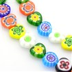 Handmade Millefiori Glass Bead Strands, Heart, Mixed Color, 9.7-9.9mm wide, 9.3-9.6mm long, 3.1-3.7mm thick, hole: 1mm