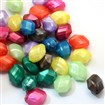 Pearlized Acrylic Beads, Faceted Rice Beads, Mixed Color, 18~18.5mm long, 13.5~14mm wide, 10.5~11mm thick,  hole: 1.5mm