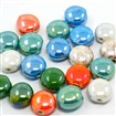 Handmade Porcelain Beads, Pearlized, Flat Round, Mixed Color, 13x14x8mm