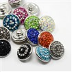 Platinum Tone Brass Polymer Clay Rhinestone Snap Buttons, Jeans Buttons, Flat Round, Mixed Color, 12mm in diameter, 4mm thick, knob: 4mm