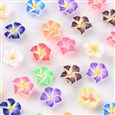 Handmade Polymer Clay 3D Flower Plumeria Beads, Mixed Color, 12mm in diameter, 8mm thick, hole: 2mm(CLAY-Q192-12MM-M)