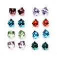 Faceted Cube Glass Cabochons, Mixed Color, 4mm wide, 4mm long, 4mm thick(GGLA-L007A-M)