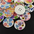 4-Hole Wooden Buttons, Printed Flat Round Button, Mixed Color, 25mm in diameter, 5mm thick, hole: 2mm(K-X-BUTT-A027-40L-M)