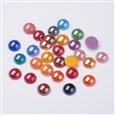 Glass Cabochons, Plated Pearlized, Half Round/Dome, Mixed Color, 10x4mm(K-X-GGLA-J002-10mm-M)