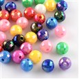 AB Color Plated Solid Color Acrylic Beads, Faceted Round, Mixed Color, 9.5~10mm in diameter, hole: 2mm(SACR-S200-10MM-M)