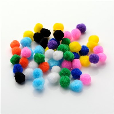 DIY Doll Craft Pom Pom Yarn Pom Pom Balls, Mixed Color, 10mm in diamet