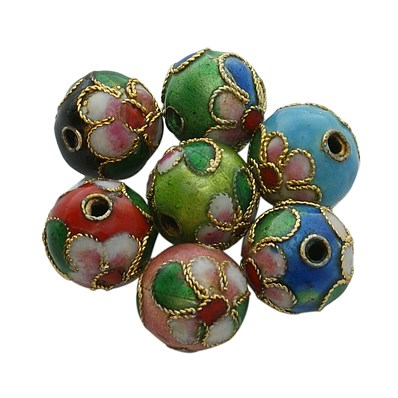 Cloisonne Beads, Round, Mixed Color, 10mm