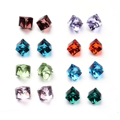 Faceted Cube Glass Cabochons, Mixed Color, 4mm wide, 4mm long, 4mm thi