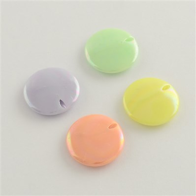 AB Color Plated Acrylic Beads, Flat Round, Mixed Color, 20mm in diamet