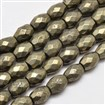 Natural Pyrite Barrel Beads Strands, Faceted, 6mm in diameter, 8mm long, hole: 1mm