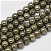 Natural Pyrite Round Beads Strands, Grade A, 4mm in diameter, hole: 1mm