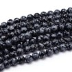 Natural Gemstone Round Bead Strands, Snowflake Obsidian, 6mm in diameter, hole: 1mm