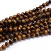 Natural Gemstone Round Bead Strands, Tiger Eye, 4mm in diameter, hole: 1mm