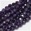 Faceted Polygon Natural Amethyst Beads Strands, 8mm long, 7mm wide, hole: 1mm