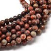 Natural Brecciated Jasper Round Bead Strands, 6mm in diameter, hole: 1mm