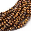 Natural Tiger Eye Round Bead Strands, Undyed, 6mm in diameter, hole: 1mm