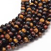 Natural Mixed Tiger Eye Round Bead Strands, Undyed,  6mm in diameter, hole: 1mm