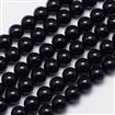 Natural Black Tourmaline Round Bead Strands, Grade AB+, 8mm, Hole: 1mm; about 49pcs/strand, 15.5
