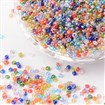 Round Glass Seed Beads, Transparent Colours Rainbow, Round, Mixed Color, 2mm in diameter, hole:1mm