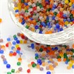 Glass Seed Beads, Frosted Colors, Round, Mixed Color, 2mm