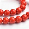 Gemstone Round Bead Strands, Imitation Cinnabar, Red, 10mm diameter, hole: 1mm(G-E266-07-10MM)