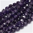 Faceted Polygon Natural Amethyst Beads Strands, 8mm long, 7mm wide, hole: 1mm(G-K066-09-8mm)