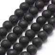 Natural Lava Bead Strands, Round, 8~9mm, Hole: 1mm; about 47pcs/strand, 15