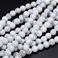Round Natural Howlite Bead Strands, 8mm, Hole: 1mm, about 49pcs/strand, 15.3