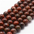 "Natural Brecciated Jasper Bead Strands, Round, 6mm, Hole: 1mm; about 61pcs/strand, 14.9""~15.1""(K-G-G735-35-6mm)"