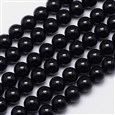 "Natural Black Tourmaline Round Bead Strands, Grade AB+, 8mm, Hole: 1mm; about 49pcs/strand, 15.5""(K-G-I160-01-8mm)"