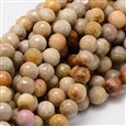 "Faceted Round Natural Chrysanthemum Stone/Fossil Coral Bead Strands, 8mm, Hole: 1mm; about 50pcs/strand, 15.3""(K-G-L437-03-8mm)"