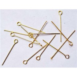 Iron Eyepins, Nickel Free, Golden , 0. 7mm thick, 2. 4cm long, hole: 2mm