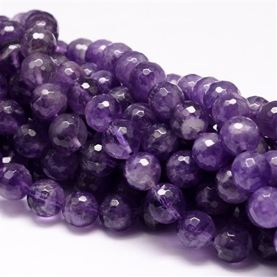 Natural Amethyst Bead Strands, Faceted, Round, 10mm in diameter, hole: