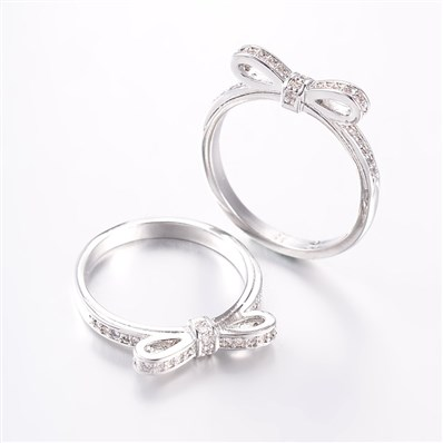 Chic Bowknot Brass Micro Pave Cubic Zirconia Finger Rings, Size 8, Pla
