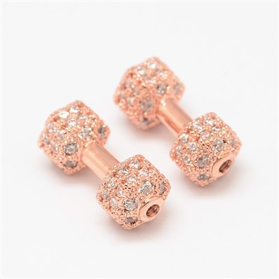 Dumbbell Brass Micro Pave Cubic Zirconia Beads, Cadmium Free & Nickel
