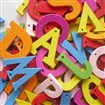 Painted Wooden Letters Pendants, Mixed Color, 23mm in diameter