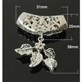Platinum Brass Leaf Pinch Bails, 39x31mm, Pin: 1mm, Hole: 9X5mm(K-X-KK-H367-P)