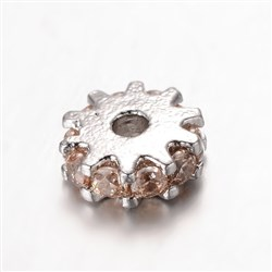 Gear Brass Micro Pave Cubic Zirconia Spacer Beads, Platinum, PeachPuff, 6mm in diameter, 2mm thick, hole: 1mm