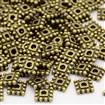 Tibetan Style Bead Spacers, Cadmium Free & Nickel Free & Lead Free, Square, Antique Bronze, 7mm long, 7mm wide, 2mm thick, hole: 2mm