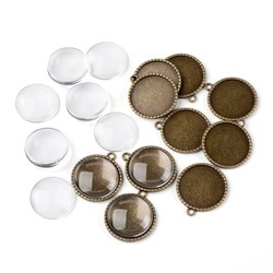 25mm Transparent Clear Domed Magnifying Glass Cabochon Cover for Alloy Photo Pendant Making, Cadmium Free & Nickel Free & Lead Free